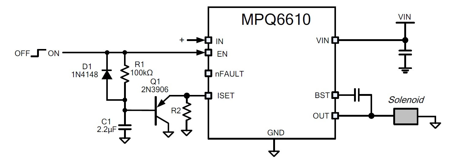 Figure 5: MPQ6610 Reduced Hold Current Circuit